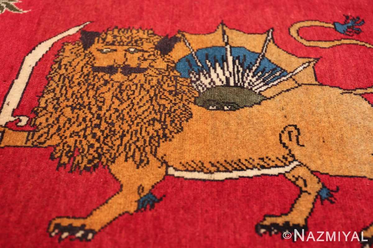 vintage lion designed tabriz persian rug 49625 field Nazmiyal