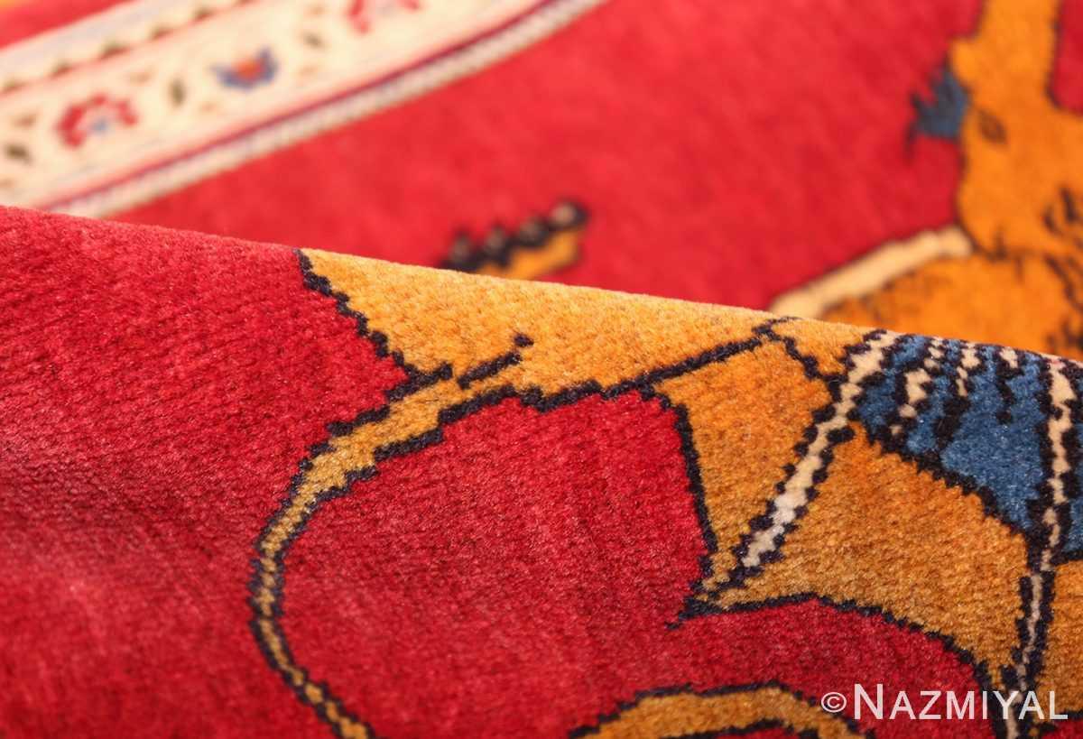 vintage lion designed tabriz persian rug 49625 pile Nazmiyal