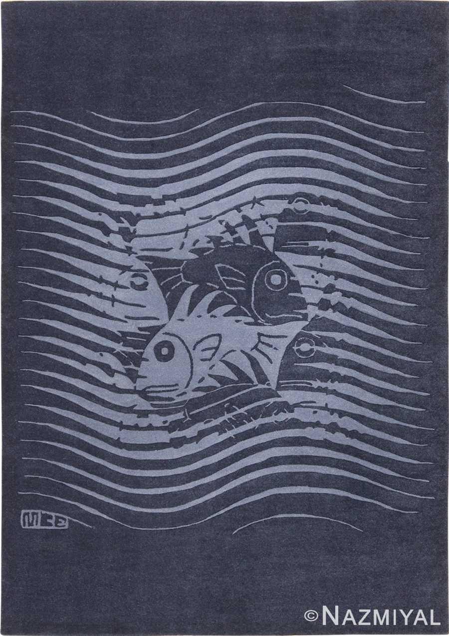 Blue Artistic Vintage Scandinavian Maurits Escher Fish Rug 49663 by Nazmiyal