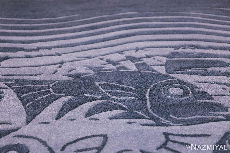 vintage maurtis eschter designed scandinavian fish rug 49663 black Nazmiyal