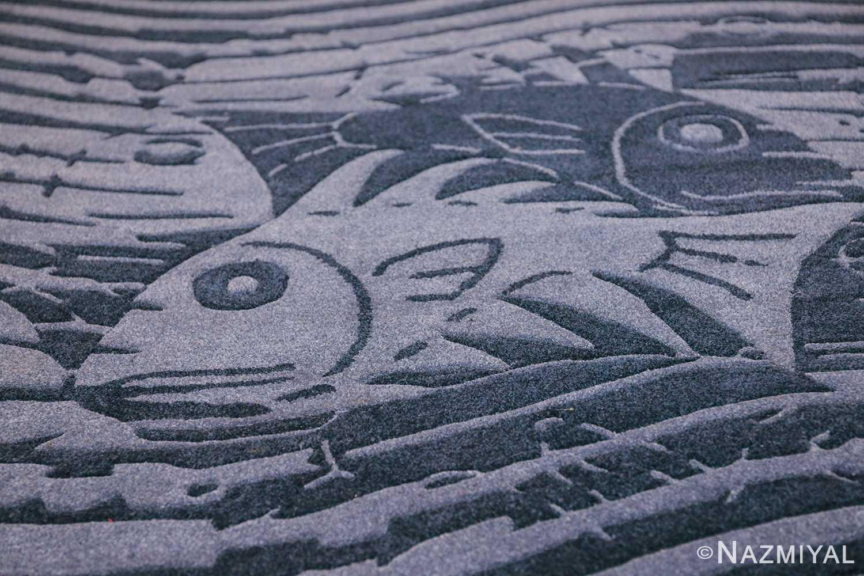vintage maurtis eschter designed scandinavian fish rug 49663 blue Nazmiyal