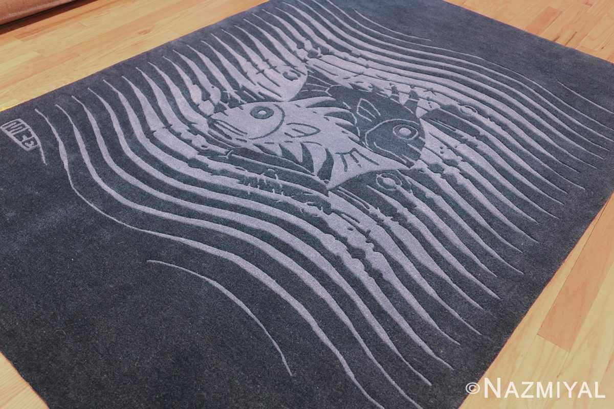 vintage maurtis eschter designed scandinavian fish rug 49663 side Nazmiyal