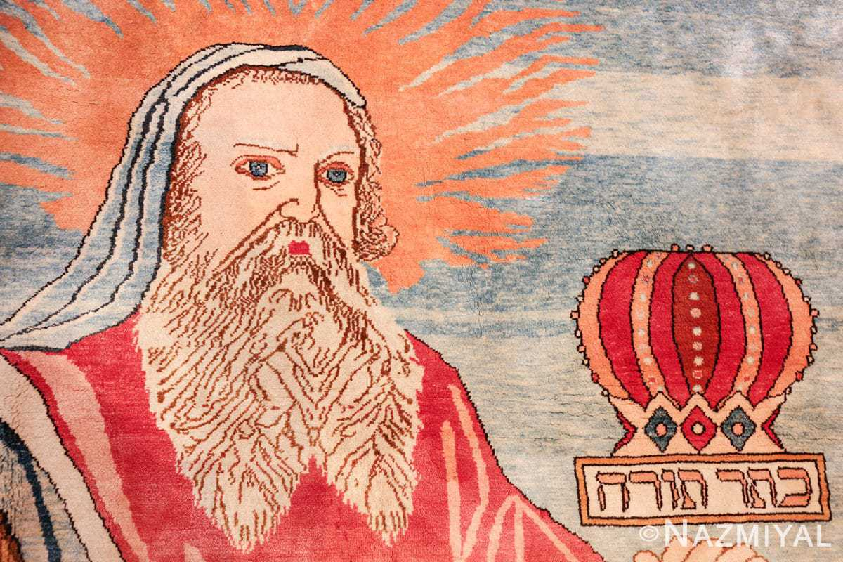 vintage silk biblical kashan persian rug 49606 moses Nazmiyal