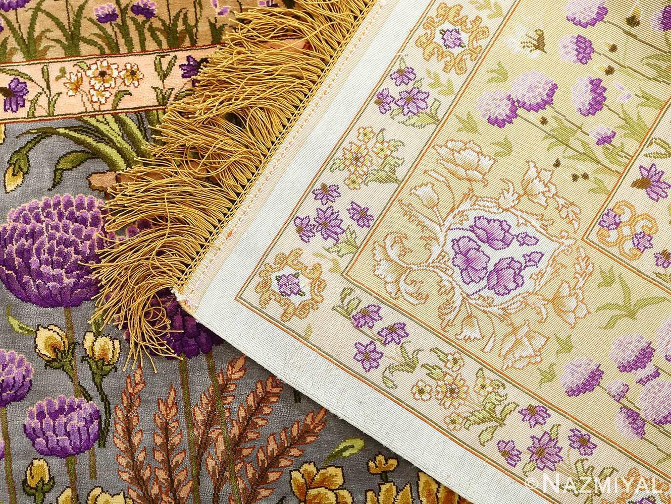 vintage silk floral tabriz persian rug 51180 knots Nazmiyal