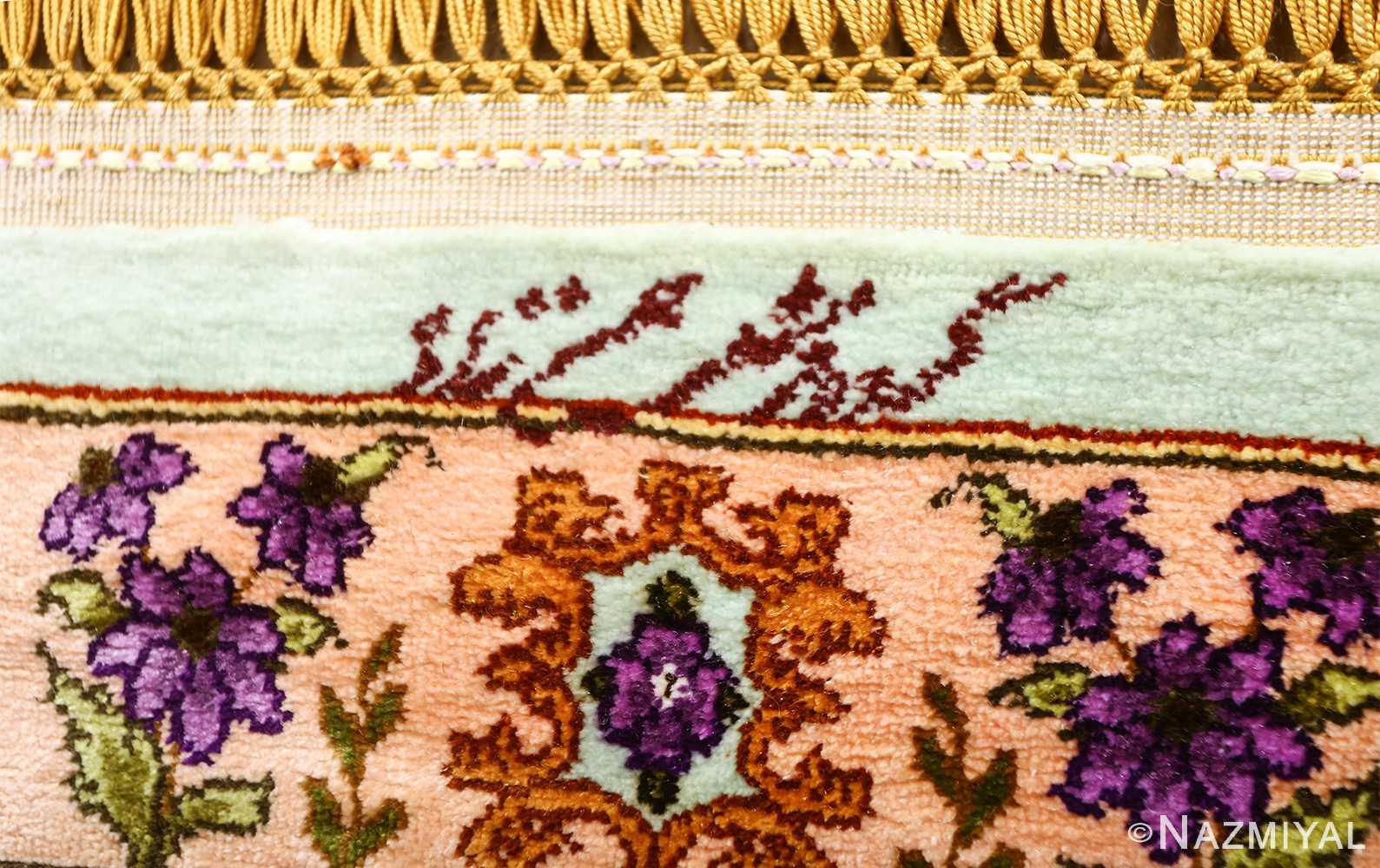 vintage silk floral tabriz persian rug 51180 signature Nazmiyal