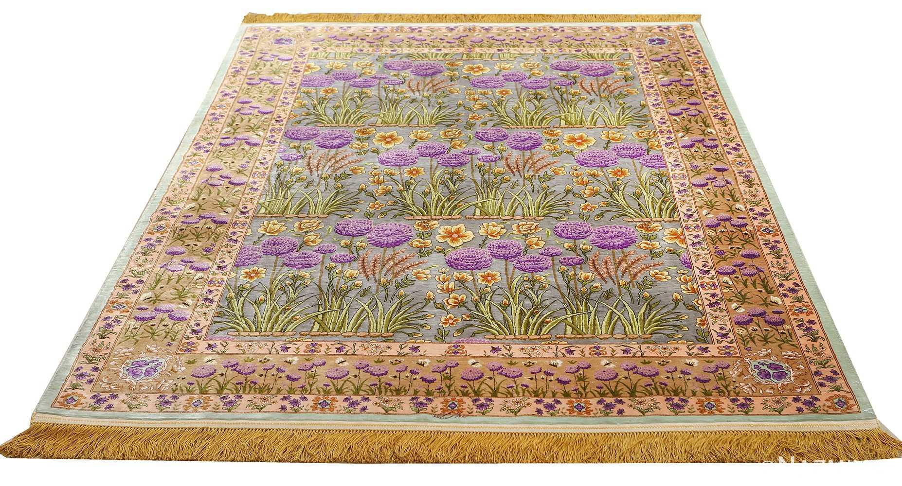 vintage silk floral tabriz persian rug 51180 whole Nazmiyal