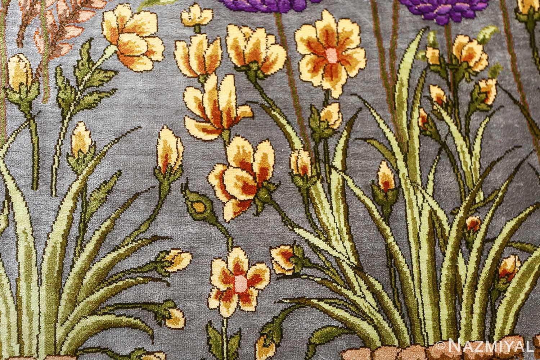 vintage silk floral tabriz persian rug 51180 yellow Nazmiyal