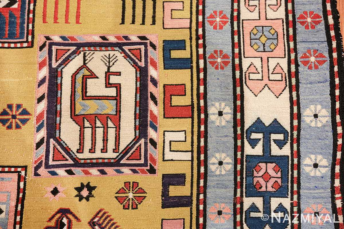 vintage silk soumak caucasian 49609 border Nazmiyal