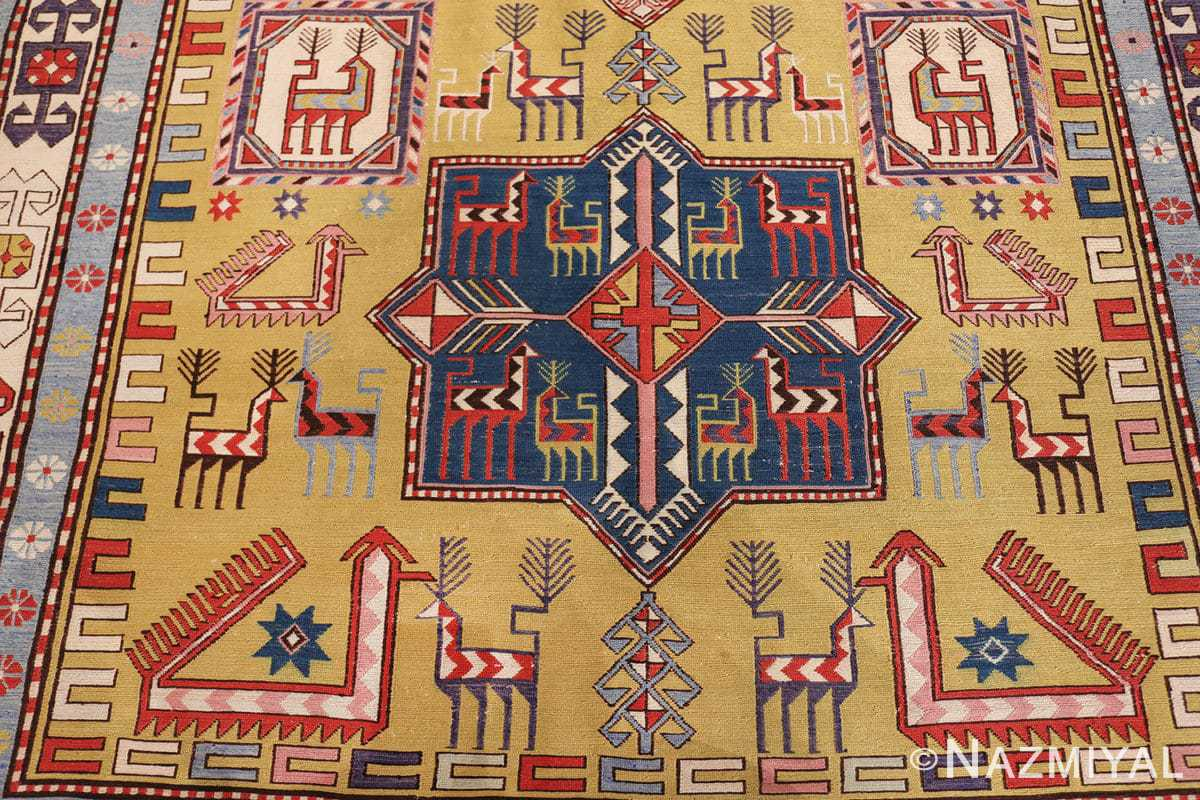 vintage silk soumak caucasian 49609 center Nazmiyal