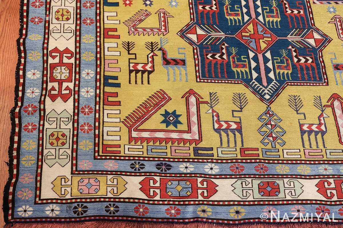 vintage silk soumak caucasian 49609 corner Nazmiyal