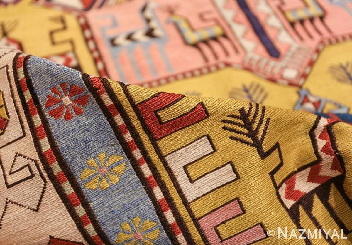 vintage silk soumak caucasian 49609 pile Nazmiyal