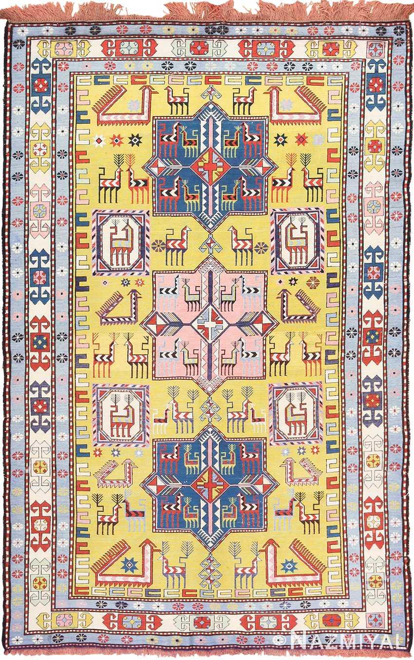 Vintage Mid Century Yellow Background Silk Caucasian Soumak 49609 by Nazmiyal