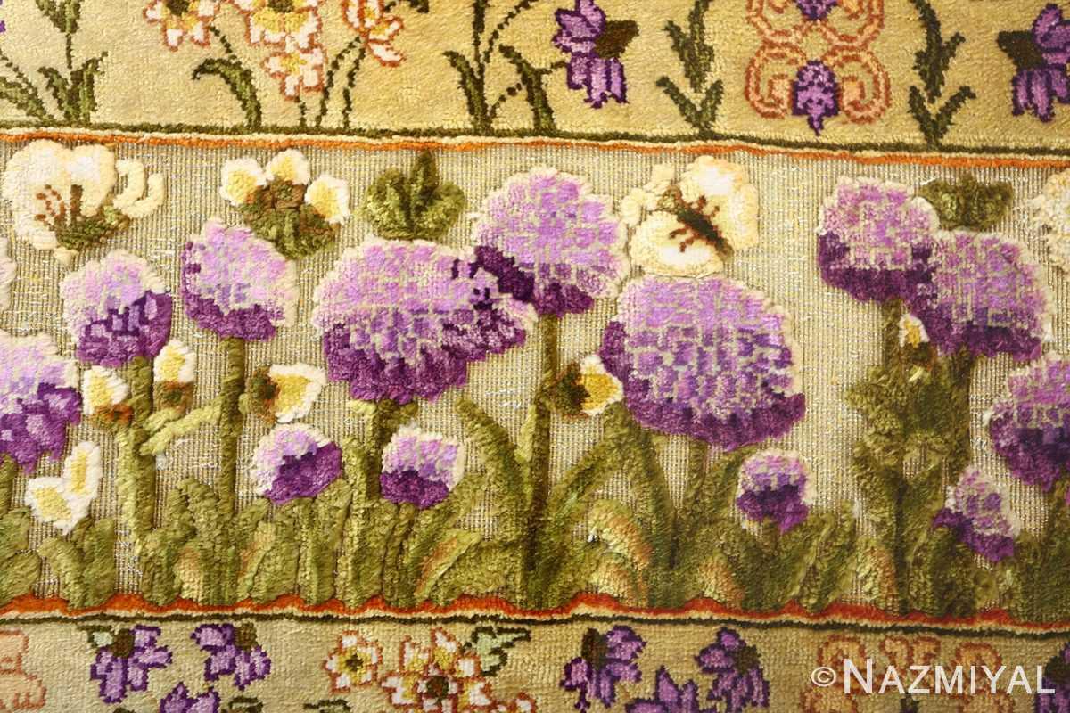 vintage silk tabriz persian rug 51179 border Nazmiyal