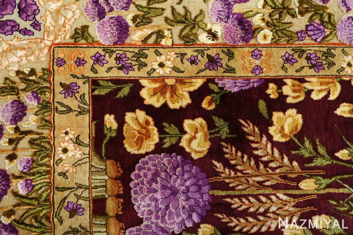 vintage silk tabriz persian rug 51179 corner Nazmiyal