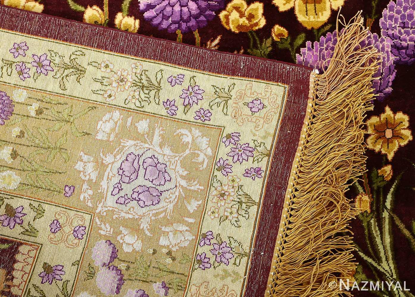 vintage silk tabriz persian rug 51179 knots Nazmiyal