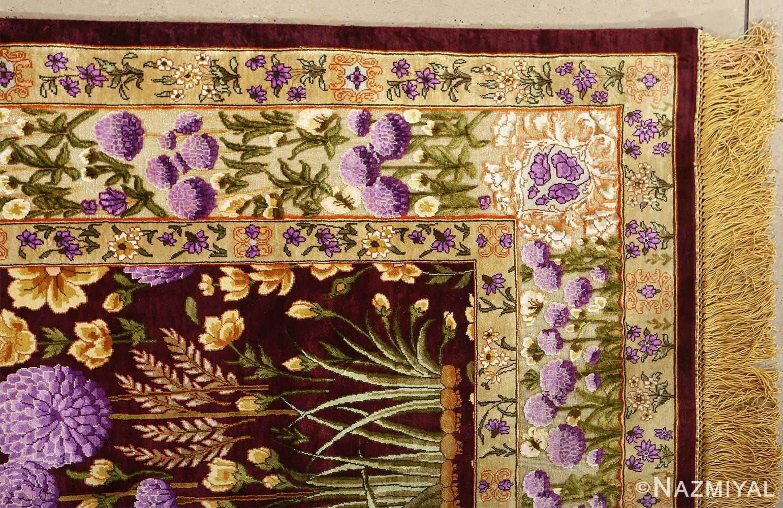 vintage silk tabriz persian rug 51179 part Nazmiyal
