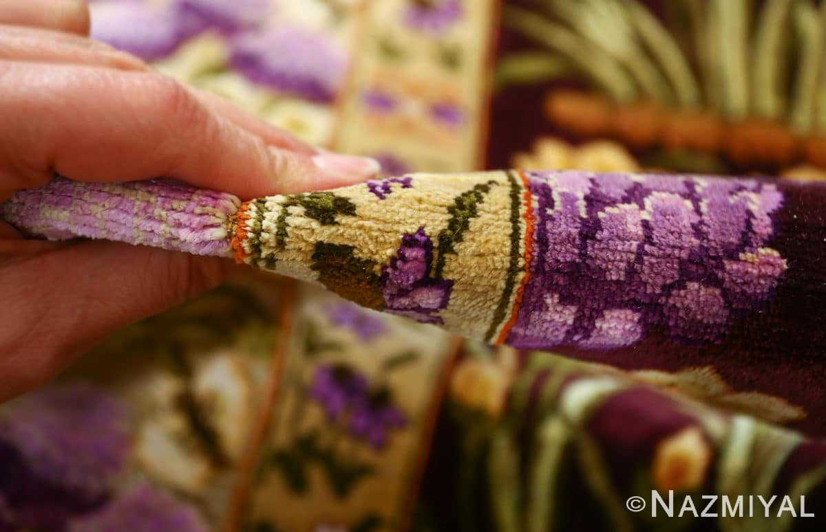 vintage silk tabriz persian rug 51179 pile Nazmiyal