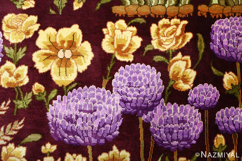 vintage silk tabriz persian rug 51179 purple Nazmiyal