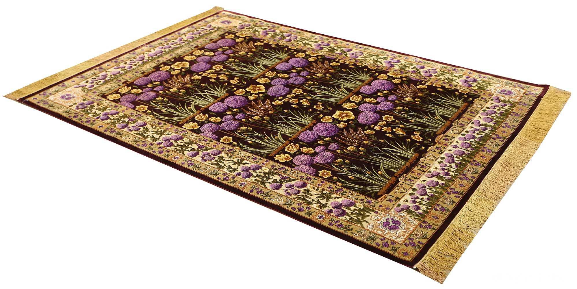 vintage silk tabriz persian rug 51179 side Nazmiyal