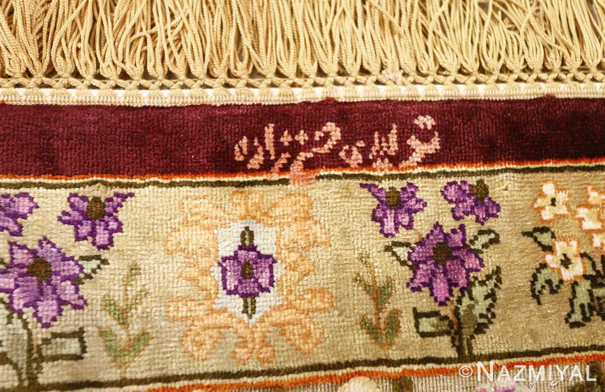 vintage silk tabriz persian rug 51179 signature Nazmiyal