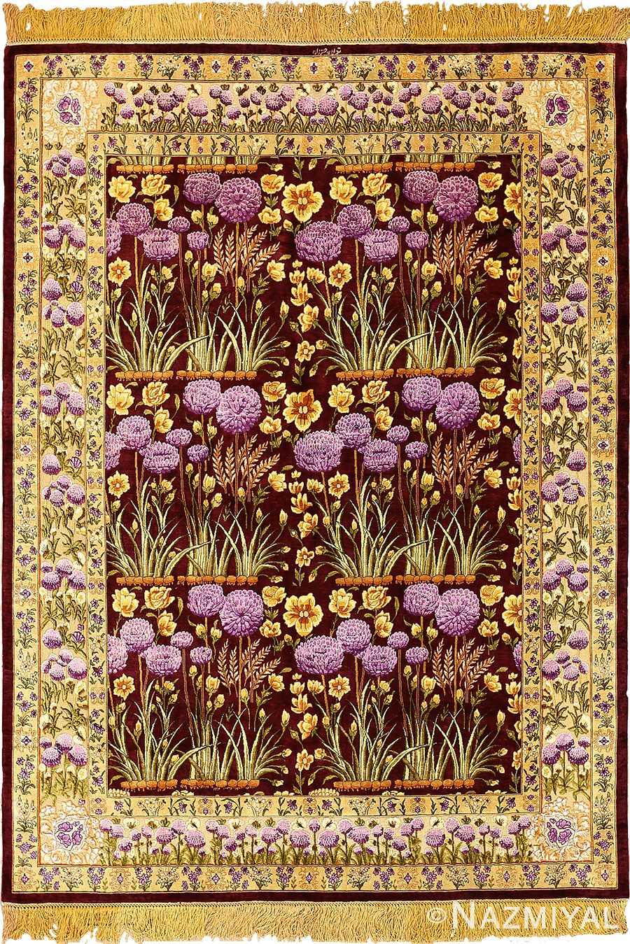 vintage silk tabriz persian rug 51179 Nazmiyal