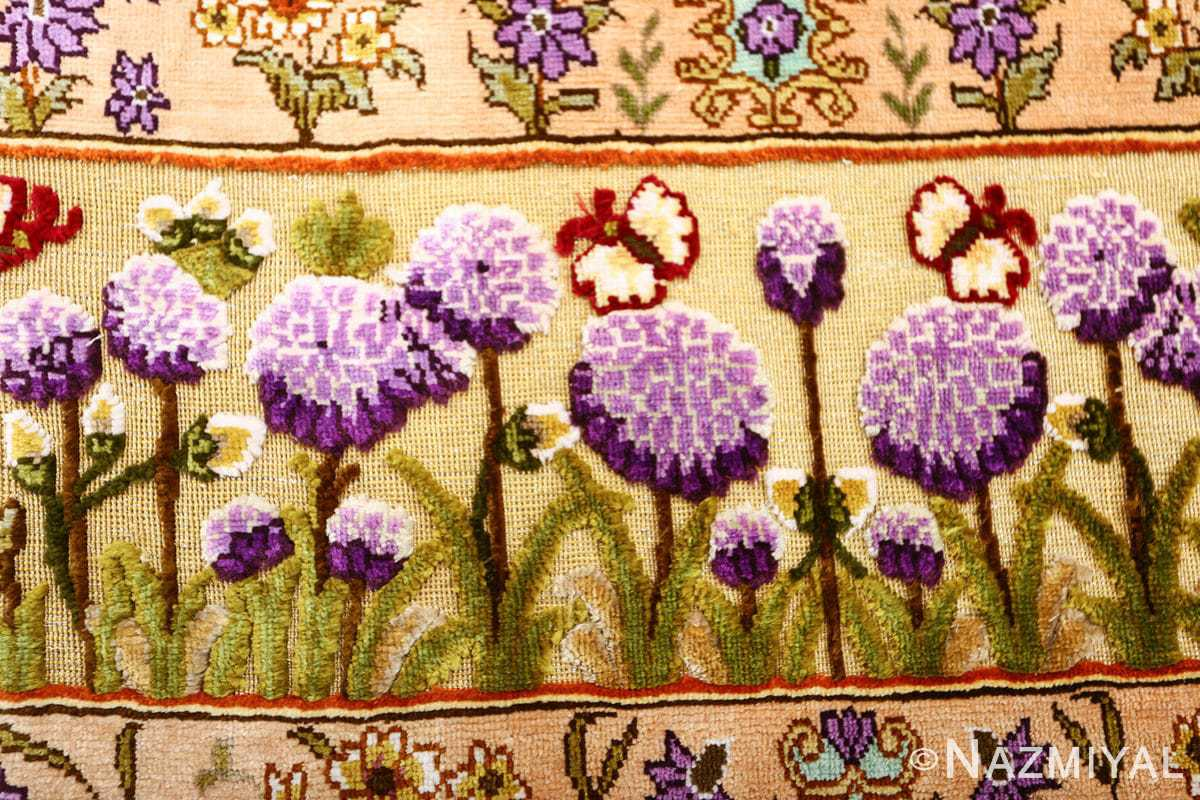 vintage small size silk tabriz persian rug 51178 border Nazmiyal