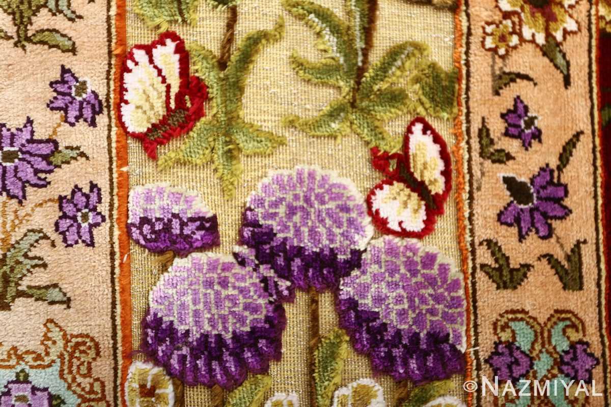 vintage small size silk tabriz persian rug 51178 butterfly Nazmiyal