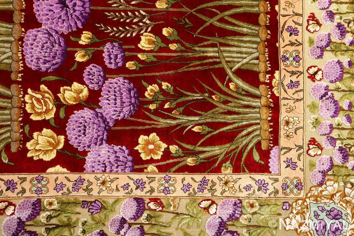 vintage small size silk tabriz persian rug 51178 design Nazmiyal