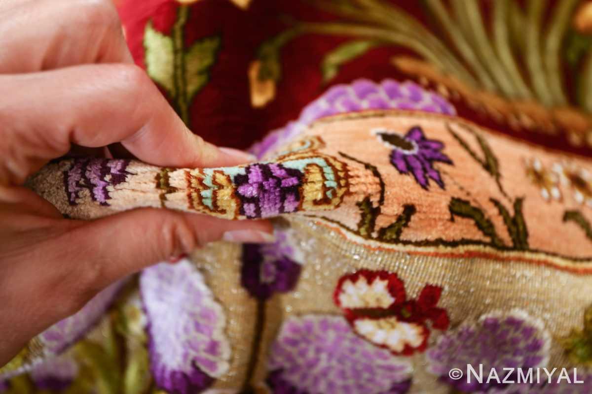 vintage small size silk tabriz persian rug 51178 pile Nazmiyal