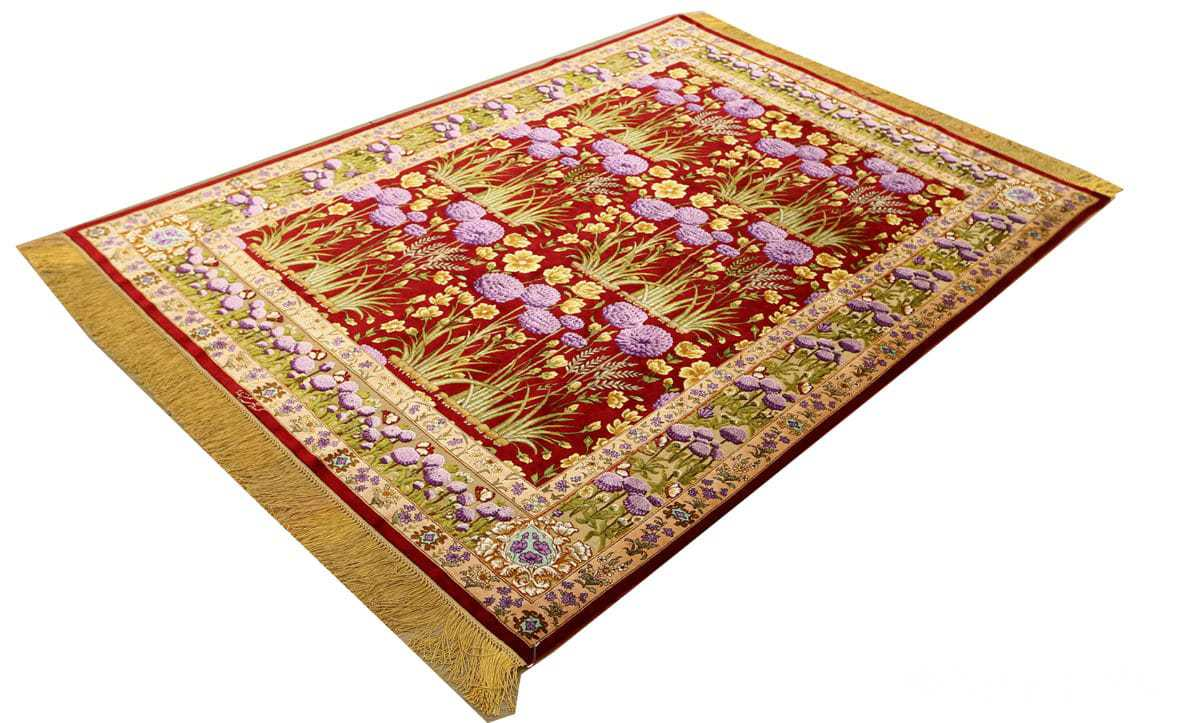 vintage small size silk tabriz persian rug 51178 side Nazmiyal