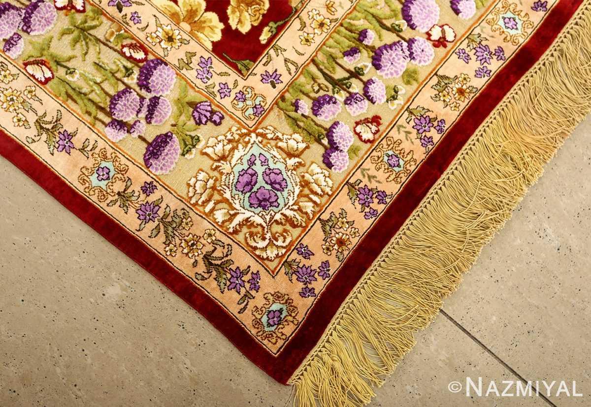 vintage small size silk tabriz persian rug 51178 slanted Nazmiyal