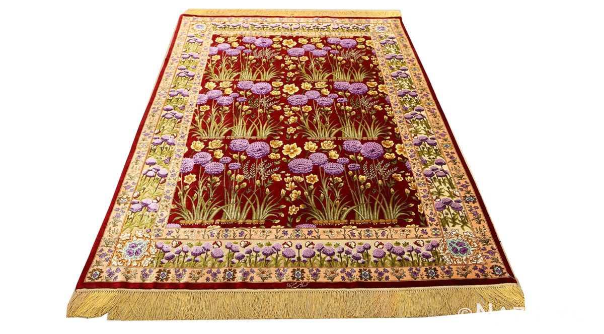 vintage small size silk tabriz persian rug 51178 whole Nazmiyal