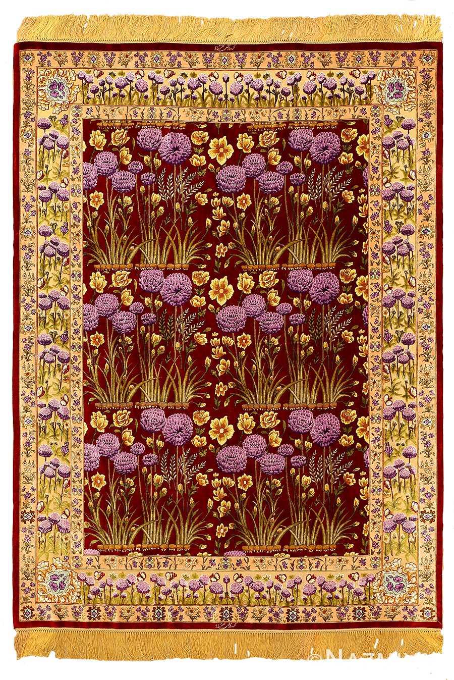 Small Floral Vintage Persian Luxury Silk Tabriz Rug 51178 by Nazmiyal