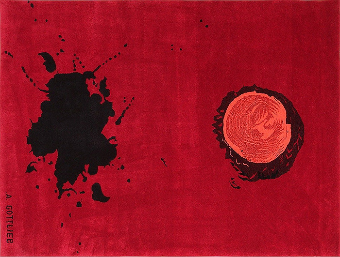 Red Modern art rug by artist Adolph Gottlieb #47408 Nazmiyal