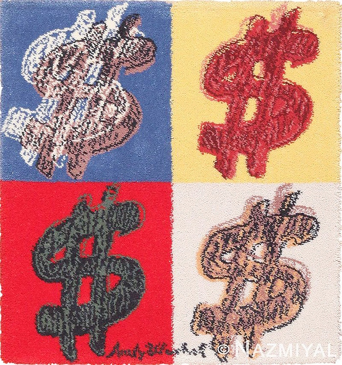 "Dollar Sign ""$"" modern art rug by artist Andy Warhol #49671 Nazmiyal"
