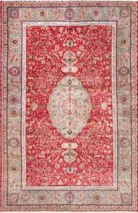 Large Red Animal Motif Silk and Wool Vintage Persian Tabriz Rug 60032 by Nazmiyal