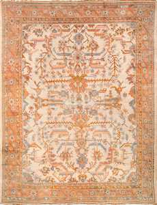 Large Ivory Arts and Crafts Design Antique Turkish Oushak Rug 49672 by nazmiyal