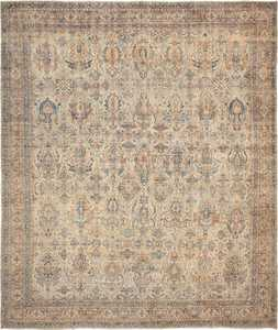 Large Sea Foam Shield Design Antique Persian Kerman Rug 49677 by Nazmiyal