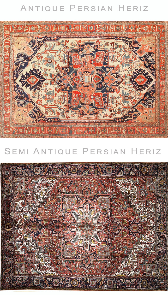 Comparing an Antique Persian Heriz Rug To a Semi Antique Persian Heriz Rug by Nazmiyal