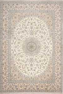 Floral Large Silk and Wool Vintage Persian Nain Rug 60030 by Nazmiyal