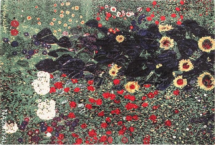Flower Garden modern art rug by artist Gustav Klimt #49661 Nazmiyal