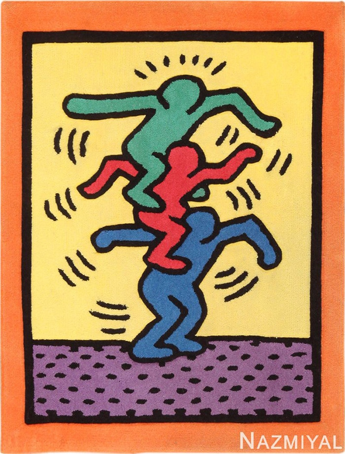 modern art rug by artist Keith Haring #49660 Nazmiyal