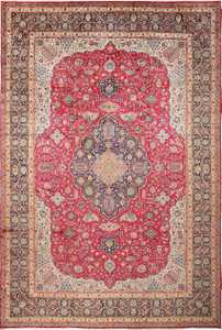 Large Red Background Vintage Persian Tabriz Rug 60042 by Nazmiyal