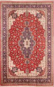 Large Floral Vintage Persian Silk Qum Rug 60022 by Nazmiyal