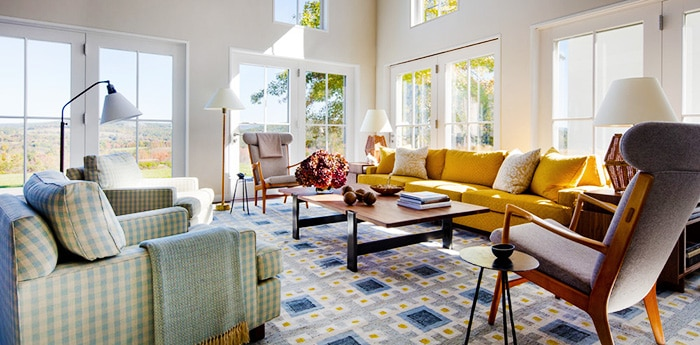 Living room interior decor with large vintage Scandinavian rug - nazmiyal