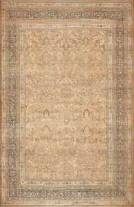Neutral Earth Tone Color Antique Oversized Persian Tabriz Rug 49427 by Nazmiyal