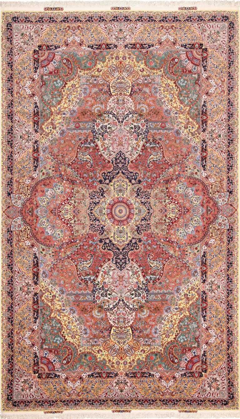 Large Geometric Vintage Silk and Wool Persian Tabriz Rug 60033 by Nazmiyal