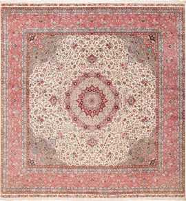 Square Floral Silk and Wool Vintage Tabriz Persian Rug 60021 by Nazmiyal
