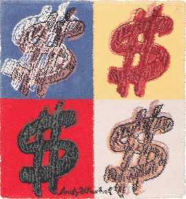Vintage Dollar Signs Andy Warhol Rug by Nazmiyal