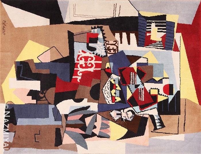 Bird cage modern art rug by artist Pablo Picasso #49683 Nazmiyal
